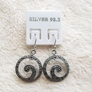 Jewelry - Marcasite round drop earrings Silver 92.5%